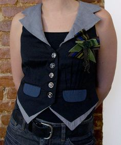Vest  Cropped Black and Gray by savagefrocks on Etsy, $60.00