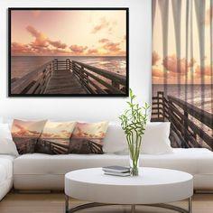 Designart 'Boardwalk on Beach Wooden Pier' Sea Bridge Framed Canvas Art Print