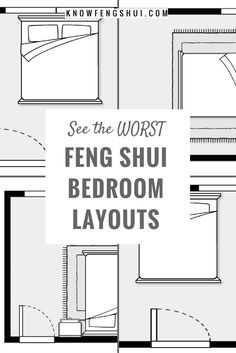 Explore the 3 worst feng shui bedroom layouts and be sure to avoid them in your own bedroom. If needed, use feng shui to create a better bedroom layout. Feng Shui Layout, Feng Shui Bedroom Layout, Feng Shui Your Bedroom, Feng Shui Bathroom, Master Bedroom Layout, Room Feng Shui, Feng Shui Design, How To Feng Shui Your Home, Bedroom Layouts