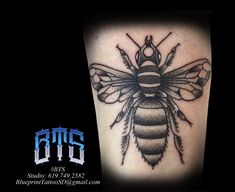 Bee Tattoo, Black And Grey Tattoos, Black And Gray Tattoos, Honey Bee Tattoo
