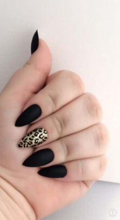 awesome Matte Fake Nail Set - Stilleto False Nails - Black Acrylic Nails, Cheetah Artificial Nails, Press On Nails - Glue On Nails - Gifts For Her Matte Black Nails, Black Acrylic Nails, Black Nails With Gold, Nail Black, Red Gold, Black Sparkle, Glue On Nails, Fun Nails, Leopard Print Nails