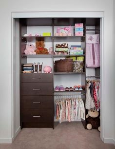 Dark Choco Walk In Closet Idea For Kids Which Consists Of Flat Panel  Cabinets Adjustable Shelves