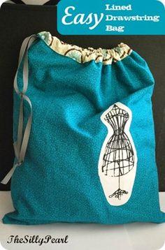 Easy drawstring bag tutorial.