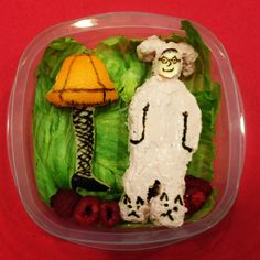 Week 12 lunch for my daughter, A Christmas Story!  Check out all the details on my blog www.lunchboxdad.com. #christmasstory #bento #kidslunches #ralphie #redryder #leglamp