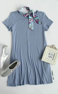 Grey Blue Short Slee