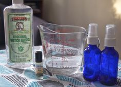 DIY body spray with water, witchazel and essential oil of choice.