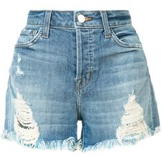 J Brand distressed shorts ($265) ❤ liked on Polyvore featuring shorts, bottoms, denim, blue, j brand, destroyed shorts, j brand shorts, blue shorts and torn shorts