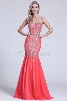 Strapless Sweetheart Beaded Coral Prom Gown (C36151157) #edressit #dress #prom_dress #evening_dress #fashion #delicate