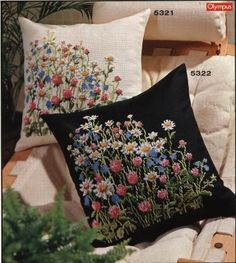 Thrilling Designing Your Own Cross Stitch Embroidery Patterns Ideas. Exhilarating Designing Your Own Cross Stitch Embroidery Patterns Ideas. Pillow Embroidery, Ribbon Embroidery, Embroidery Art, Cross Stitch Embroidery, Embroidery Patterns, Machine Embroidery, Embroidered Cushions, Embroidered Flowers, Dmc Cross Stitch