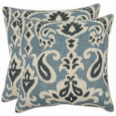 Safavieh Paisley 22-inch Blue Decorative Pillows (Set of 2) - Overstock™ Shopping - Great Deals on Safavieh Throw Pillows