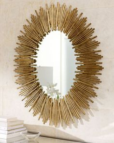Arteriors Prescott Oval Iron Mirror: Wall mirror in starburst frame creates a stunning look over a sofa or hall console. Handcrafted of iron with gold leaf finish. Sun Mirror, Oval Mirror, Floor Mirror, Square Mirrors, Golden Mirror, Starburst Mirror, Mirror Shop, Circular Mirror, Cool Mirrors