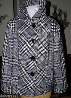 Chico's Winter Jacket Coat Sz 3 Black White Purple Houndstooth Plaid Check | eBay #debra1711