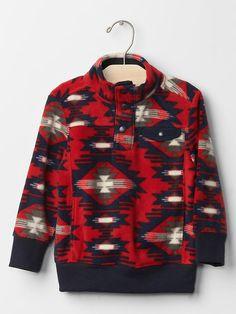 Printed fleece mockneck pullover
