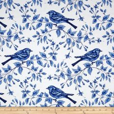 Michael Miller Blue & White Bird On The Vine Azure From Michael Miller, this cotton print fabric is perfect for quilting, apparel and home decor accents. Colors include shades of blue and white. Blue And White Fabric, Blue Fabric, Delft, Christmas Ornament Wreath, Michael Miller Fabric, Fabric Birds, Wall Fabric, Fabric Shop, Blue Pillows