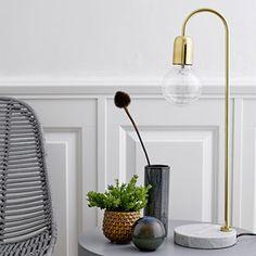 Lampe à poser en laiton avec socle en marbre Bloomingville
