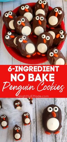 These delicious Penguin Cookies are the perfect treat for your next holiday party or get-together.  Made with Town House Crackers and few other goodies, these no-bake cookies are super simple to make and will be loved by everyone! || Delightful E Made