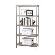 Null 4 Shelf Bookcase With Mixed Materials In Natural
