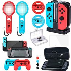 Zadii Accessories Bundle Compatible with Nintendo Switch Accessories Kit with Tennis Racket Steering Wheel Joy-con Grip Charging Dock Carrying Case and Screen Protector Console Style, Best Gaming Setup, Nintendo Switch Case, Nintendo Switch Accessories, Jugend Mode Outfits, Accessoires Iphone, Computer Humor, Computer Diy, Computer Center