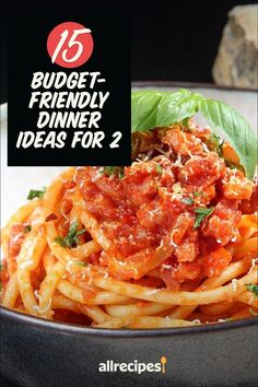 """20 Budget-Friendly Dinner Ideas for 2   """"The Allrecipes community of cooks has created dozens of budget-friendly recipes designed for just two people."""" #cheaprecipes #cheapmeals #budgetfriendly #budgetrecipes #frugalcooking #frugalmeals #cheapdinnerideas #cheap #budget #economical #frugal Cheap Vegan Meals, Cheap Recipes, Cheap Dinners, Dinner On A Budget, Dinner Ideas, Dinner Recipes, Frugal Meals, Budget Meals, Fermented Cabbage"""
