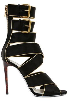 621ca9655819 Balmain (BB) sexy high heel booties in black buckles