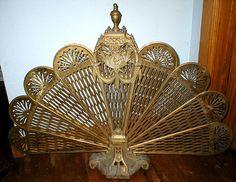 Great Old Brass Peacock Folding Fireplace Screen Edwardian Victorian