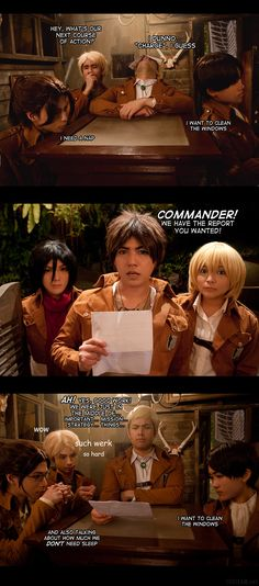 Attack on Titan: Our Great Leaders>>>and Levi still wants to clean the windows xD