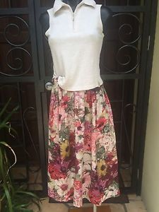 Vintage Italian Cotton Boho Large Floral Lined Skirt Size 46 14-16 Australian
