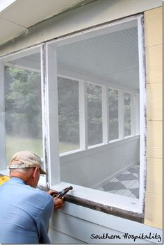 Do it yourself screened porch todays homeowner windows and doors adding screening to the porch solutioingenieria Images