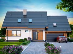 DOM.PL™ - Projekt domu DN Lisandra 2M CE - DOM PC1-60 - gotowy koszt budowy Flat Roof House, Facade House, Bungalow House Design, Modern Bungalow, Bamboo House, Home Garden Design, Tropical Houses, Pool Houses, Traditional House