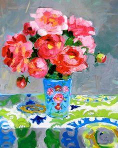 Art - Floral - by Margaret Owen Art Floral, Peony Painting, Painting Art, Illustration Art, Illustrations, Guache, Paintings I Love, Flower Paintings, Pink Peonies