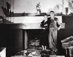 MGM Art Director Cedric Gibbons in his Art Deco home with his wife Dolores Del Rio. Myrna Loy, Marlene Dietrich, Golden Age Of Hollywood, Old Hollywood, Hollywood Actresses, Santa Monica, Mexican Actress, Hollywood Homes, Art Deco Home