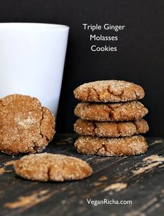 Triple Ginger Molasses Soft Cookies. 100% Spelt. Vegan Recipe - Vegan Richa