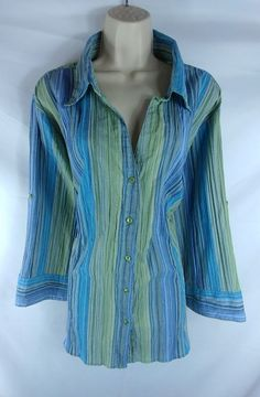 ALC Woman NEW Multi-Color 3/4 Tab Sleeve Striped Button Down Shirt Plus Size 3X | Clothing, Shoes & Accessories, Women's Clothing, Tops & Blouses | eBay!