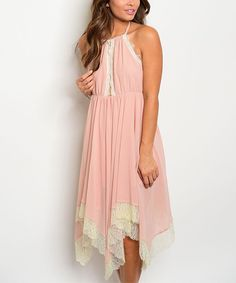 Look at this Blush & Ivory Lace Halter Dress on #zulily today!