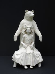Ursula and Her Kid, 2010. Porcelain Sculpture by Tricia Cline.