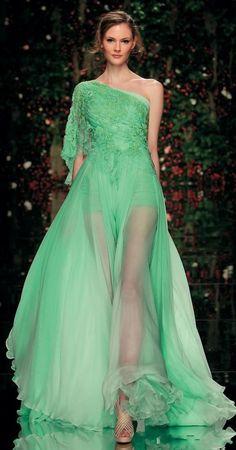 2015-Elie-Saab-Evening-Dresses-A-line-One-shoulder-Sleeveless-Floor-Length-Green-Appliques-Long-Party