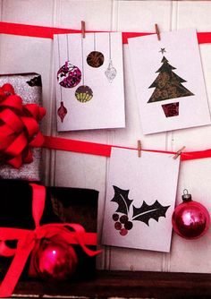 christmas card display by stylist