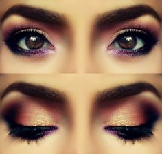 Makeup for brown eyes, rose petal color, smokey sparkling eyes makeup