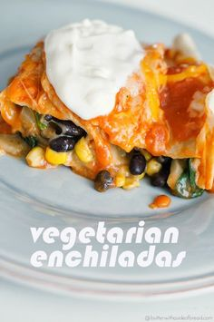 vegetarian enchiladas, butter with a side of bread