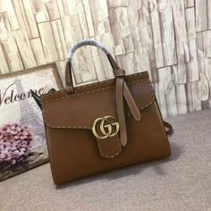 Gucci GG Marmont leather top handle bag brown 421890