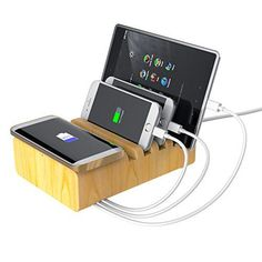 Beeiee® Wood Multi Device Charging Station & Organizer with Fast Qi Wireless Charger and 35W 7A 6-Port USB Charger (One Port is Fast Charge) for iPhone 7 ,7 Plus, iPad mini,iPad air,iPad pro, Samsung Galaxy Note 7,Note 5,S7 / S7 Edge,S6 Edge * Wood Charging Station & Organizer - This charging station is designed to accommodate all of your electronic devices - from tablets (Nexus, Samsung Galaxy, iPad Pro, iPad Mini, Kindle Fire) to your smartphones (all iPhones, Samsung Galaxy, Google Nexus,