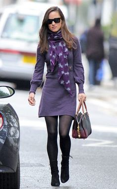 Pippa Middleton is pretty in a purple dress with matching printed scarf. She keeps warm on London's streets with black tights and ankle booties. Pippa Middleton Style, Middleton Family, Fall Winter Outfits, Autumn Winter Fashion, Winter Dresses, Purple Long Sleeve Dress, Purple Dress, Dress Black, Purple Sweater Dress