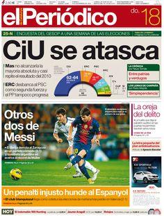 Portada de El Periódico 17/11/12. CiU se atasca, en referencia al resultado del sondeo del GESOP, y la victoria del Barça frente al Zaragoza (3-1) principales temas del día.