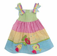 Baby Girls Tiered Rainbow Gingham Seersucker Dress Sweet fish appliqués sparkly sequins and rickrack trim add a touch of whimsy to this colorful tiered gingham seersucker dress by Rare Editions. Baby Girl Dress Patterns, Toddler Girl Dresses, Little Girl Dresses, Baby Dress, Girls Dresses, Ruffle Dress, Baby Girls, Girls 4, Baby Frocks Designs