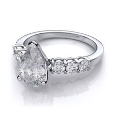 cae41c40aab2c .60ctw Classic Pear Shape Diamond Engagement Ring in 14k White Gold SI H-I  Pear Shaped