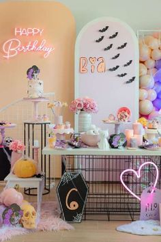 Check out this spooky Halloween party! The dessert table is fantatsic! See more party ideas and share yours at CatchMyParty.com  #catchmyparty #partyideas #halloween #halloweenparty