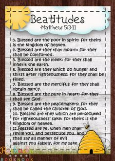 Primary 7 Lesson The Sermon on the Mount, Beatitudes - Rachael's BookNook Bible Lessons For Kids, Primary Lessons, Bible For Kids, Sunday School Lessons, Sunday School Crafts, Pre School, Kids Church, Church Ideas, Church Camp