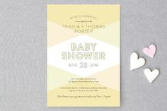 Color Blocked Baby Shower Invitations