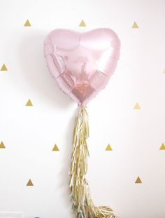 Valentines Day Pink Heart Tassel Balloon, Dusty Rose Blush and Gold Party Decor, Photo Booth Prop, Wedding Decorations by pomtree on Etsy https://www.etsy.com/listing/262349320/valentines-day-pink-heart-tassel-balloon