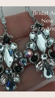 Black Earrings, Statement Earrings, Bridal Earrings, Bridal Style, Pandora Charms, Wedding Jewelry, Swarovski Crystals, Bracelets, Black Stud Earrings